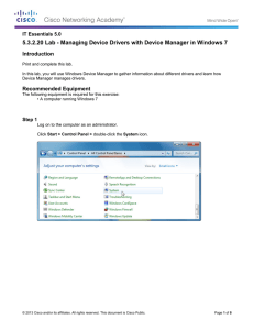 5.3.2.20 Lab - Managing Device Drivers with Device Manager in... Introduction IT Essentials 5.0