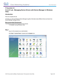 5.3.2.21 Lab - Managing Device Drivers with Device Manager in... Vista Introduction IT Essentials 5.0
