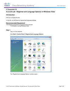 5.3.2.25 Lab - Regional and Language Options in Windows Vista Introduction