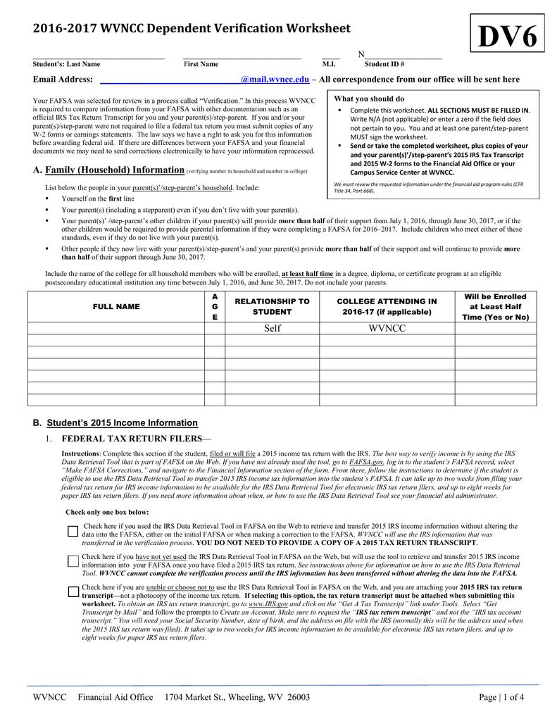 Worksheets Fafsa Verification Worksheet 2016 2017 wvncc dependent verification worksheet