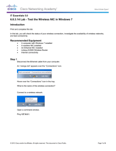 6.8.3.14 Lab - Test the Wireless NIC in Windows 7 Introduction