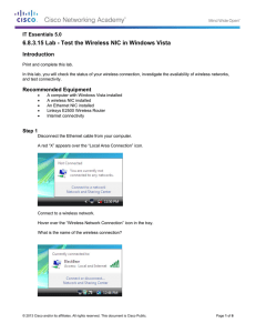 6.8.3.15 Lab - Test the Wireless NIC in Windows Vista Introduction
