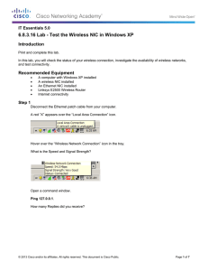 6.8.3.16 Lab - Test the Wireless NIC in Windows XP Introduction