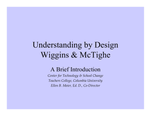 Understanding by Design Wiggins & McTighe A Brief Introduction