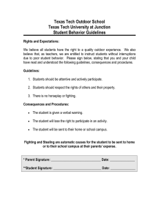 Texas Tech Outdoor School Texas Tech University at Junction Student Behavior Guidelines