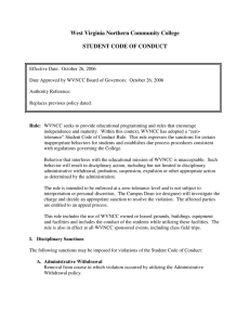 West Virginia Northern Community College  STUDENT CODE OF CONDUCT