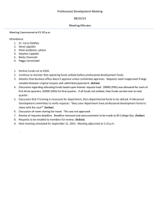 Professional Development Meeting  08/25/15  Meeting Minutes