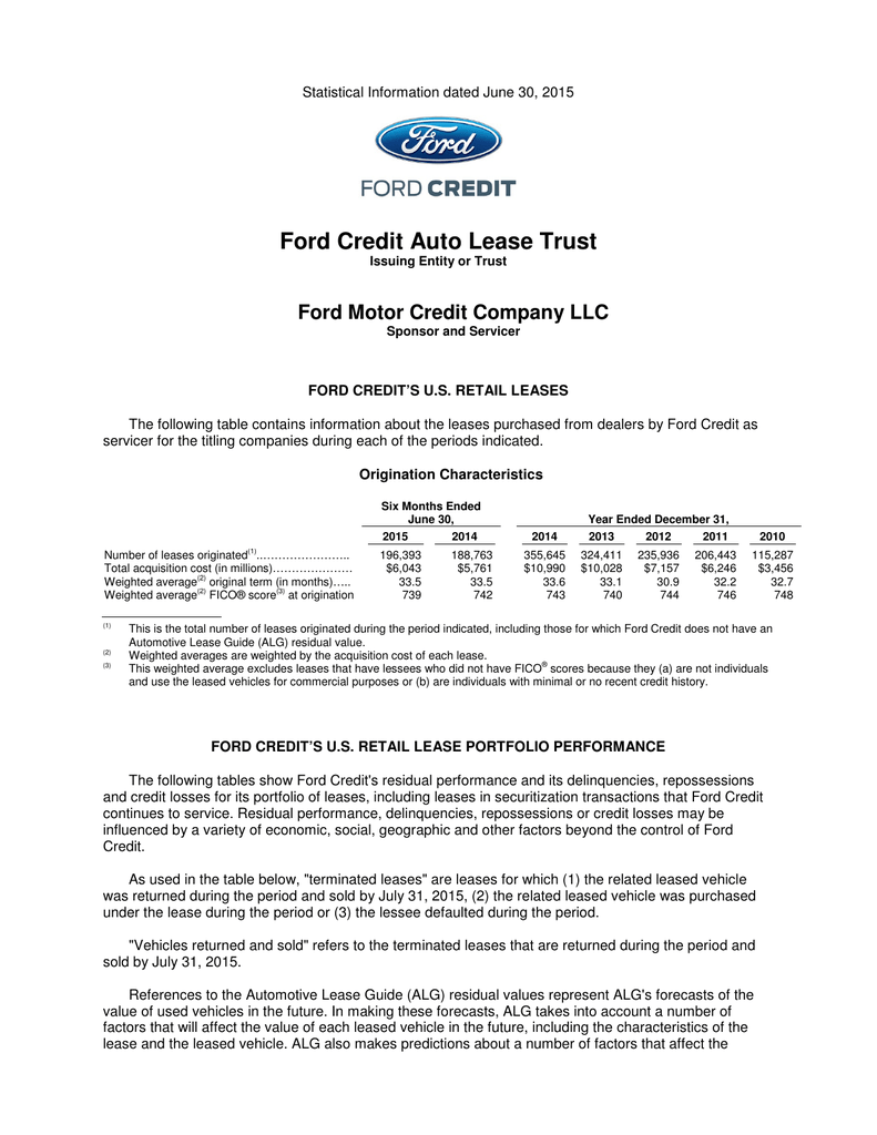 Ford credit auto lease trust ford motor credit company llc