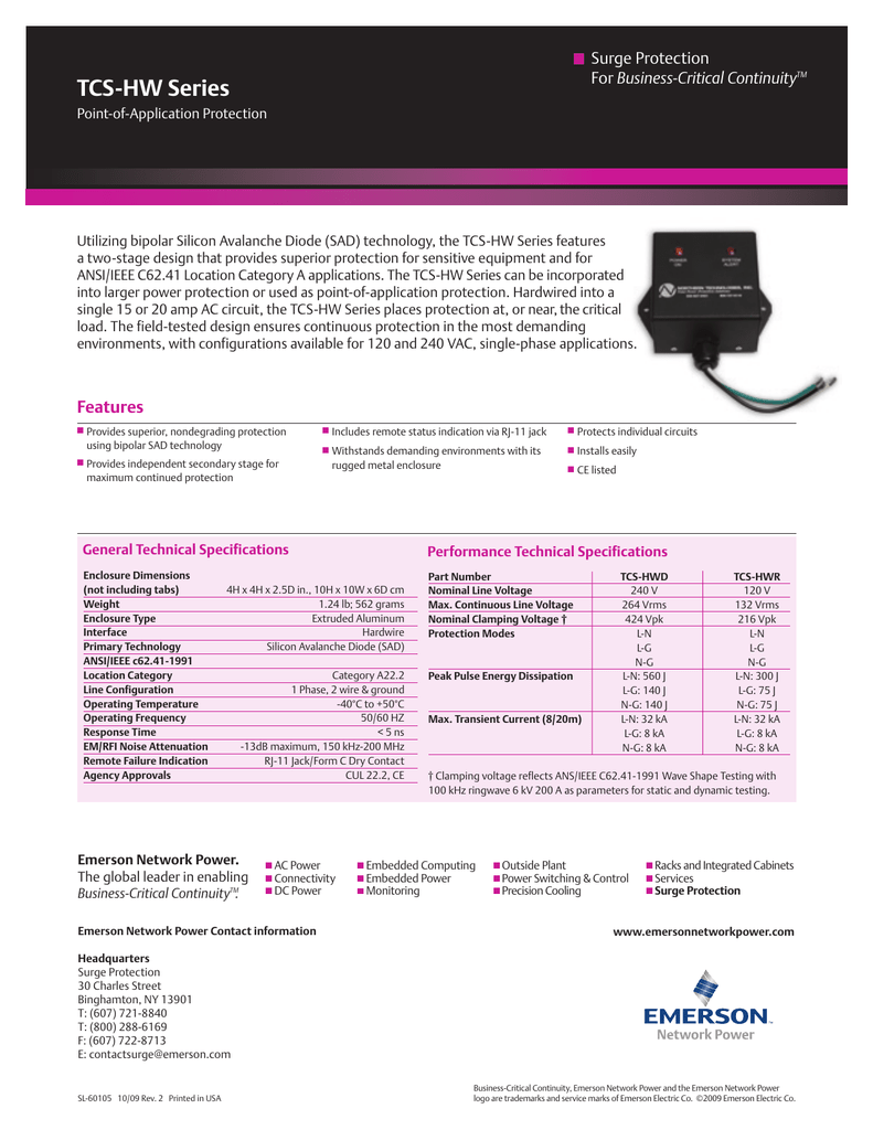 TCS-HW Series Surge Protection Business-Critical Continuity