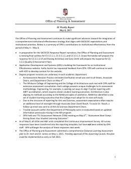 The Office of Planning and Assessment continues to make significant... IE Weekly Report May 8, 2015