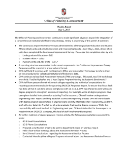 The Office of Planning and Assessment continues to make significant... Weekly Report May 1, 2015