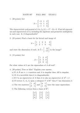 MATH 307 FALL 2002 EXAM 2 1. (30 points) Let