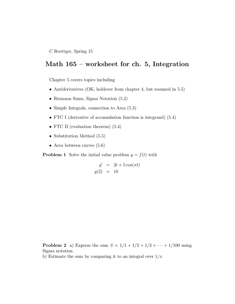 Math 165 – worksheet for ch  5, Integration