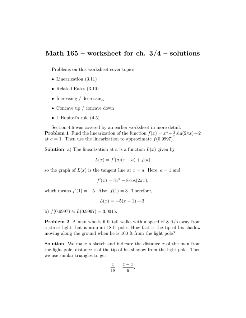 Math 165 worksheet for ch 34 solutions ibookread Read Online