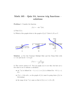 Math 165 – Quiz 5A, inverse trig functions – solutions