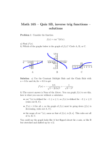 Math 165 – Quiz 5B, inverse trig functions – solutions