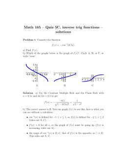 Math 165 – Quiz 5C, inverse trig functions – solutions