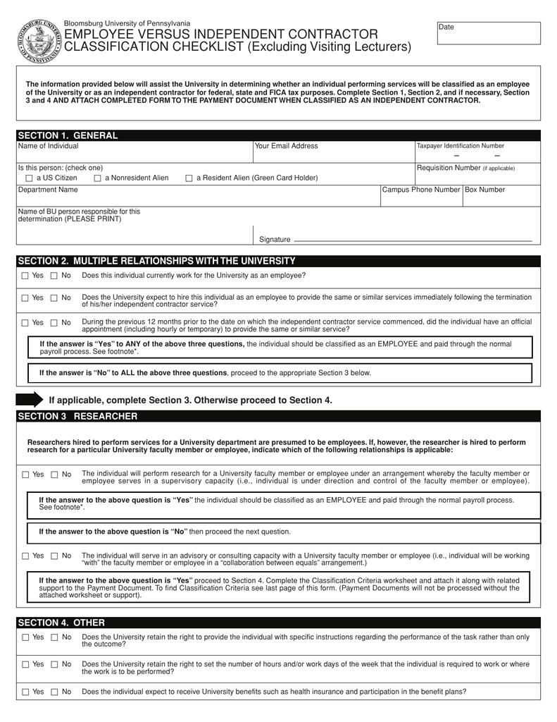 employee versus independent contractor classification checklist