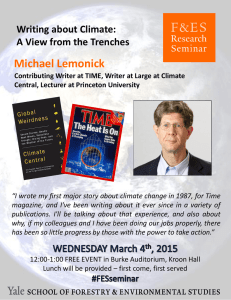 Michael Lemonick  Writing about Climate: A View from the Trenches