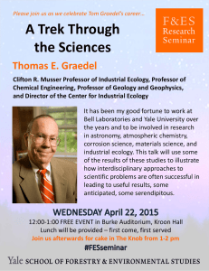 A Trek Through  the Sciences Thomas E. Graedel