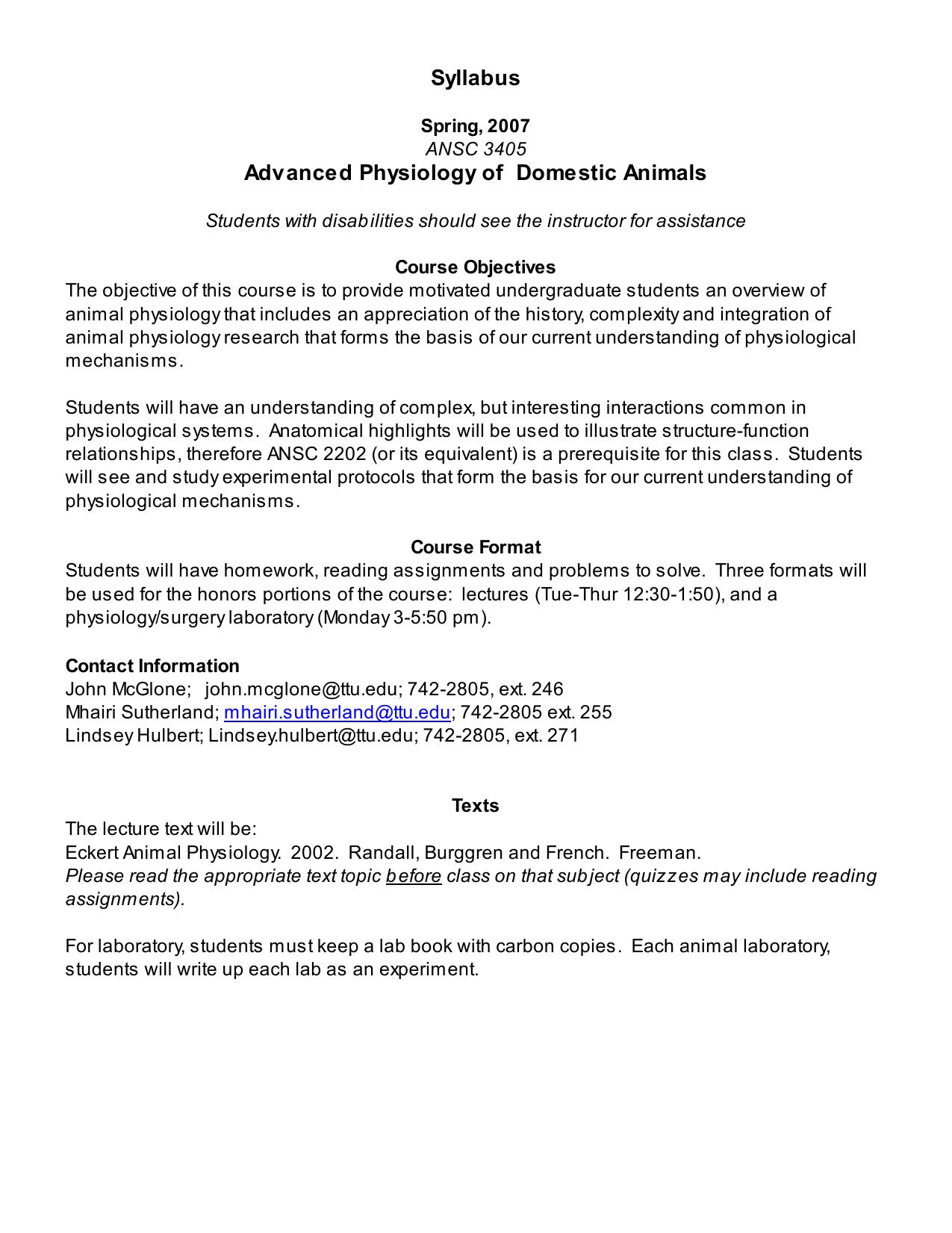 Syllabus Advanced Physiology of Domestic Animals