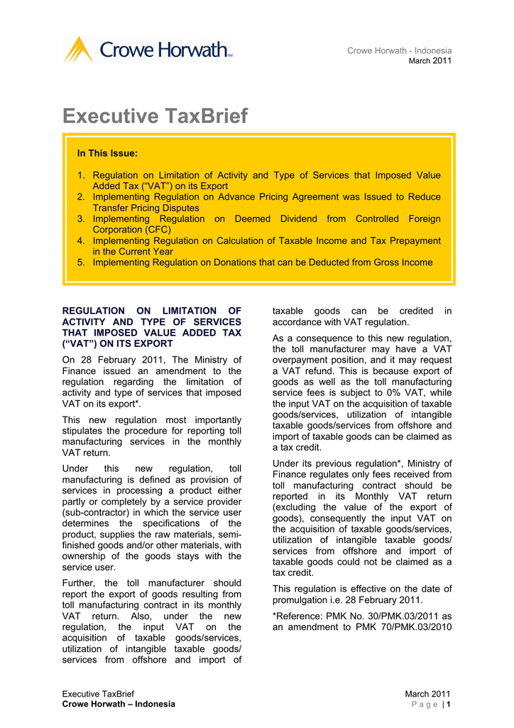 In This Issue Added Tax Vat On Its Export