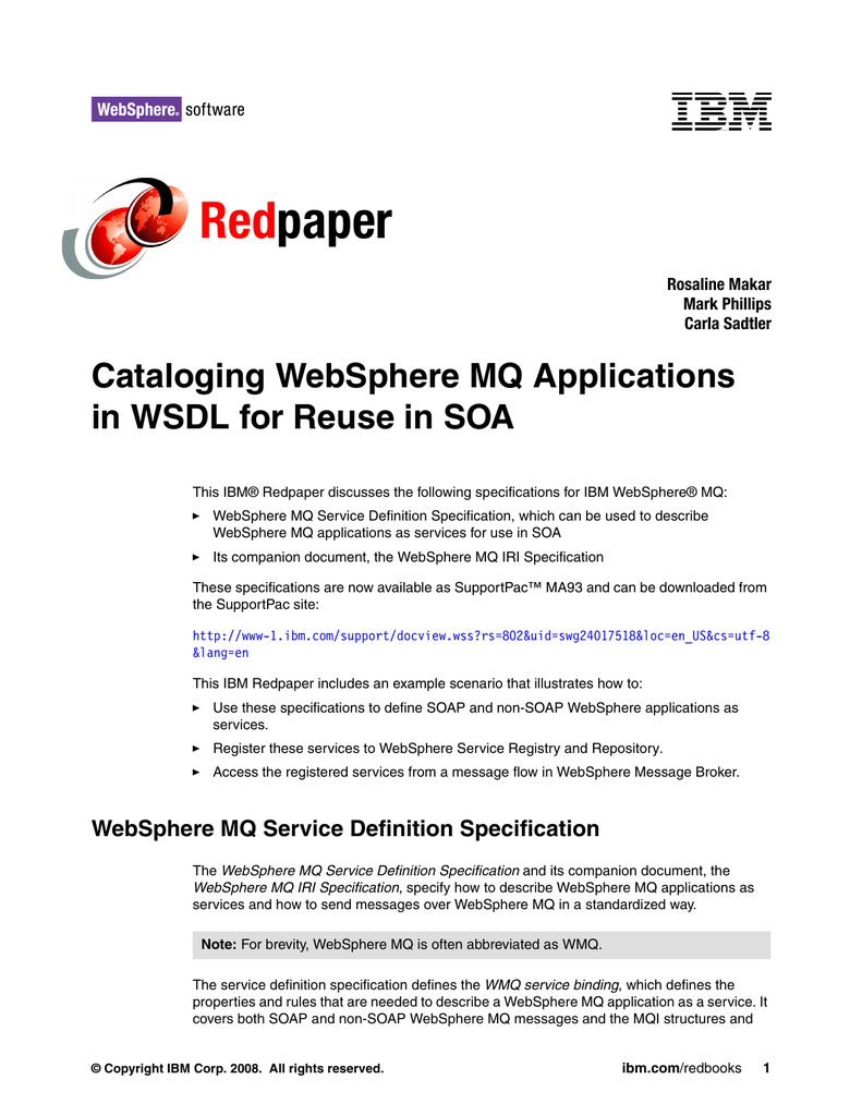 Red paper Cataloging WebSphere MQ Applications in WSDL for