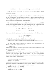 MATH 267 How to solve ODE systems in MATLAB