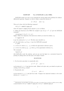 MATH 267 Use of MATLAB to solve ODEs