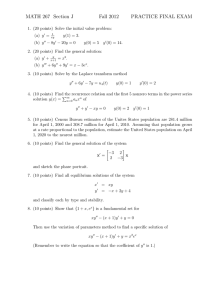 MATH 267 Section J Fall 2012 PRACTICE FINAL EXAM