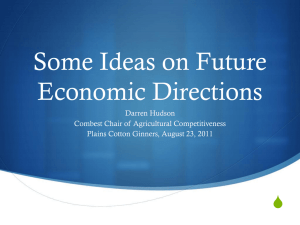 Some Ideas on Future Economic Directions S Darren Hudson