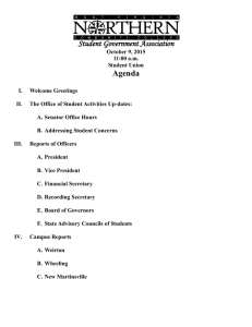 Student Government Association Agenda