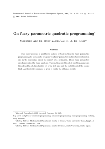 On fuzzy parametric quadratic programming ∗ Mohamed Abd El–Hady Kassem