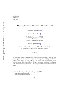CP , OR, ENTANGLEMENT ILLUSTRATED n Johan Br¨annlund