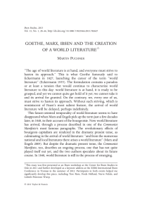 GOETHE, MARX, IBSEN AND THE CREATION OF A WORLD LITERATURE M P