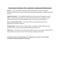 Instructional Technology Ed.D. Application- Supplemental Requirements