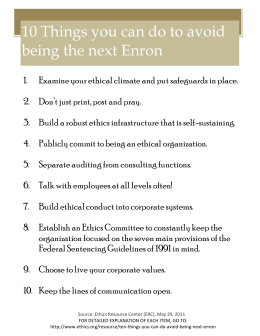 10 Things you can do to avoid being the next Enron