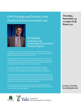 EPA Priorities and Trends in the Practice of Environmental Law AviGarbow General Counsel
