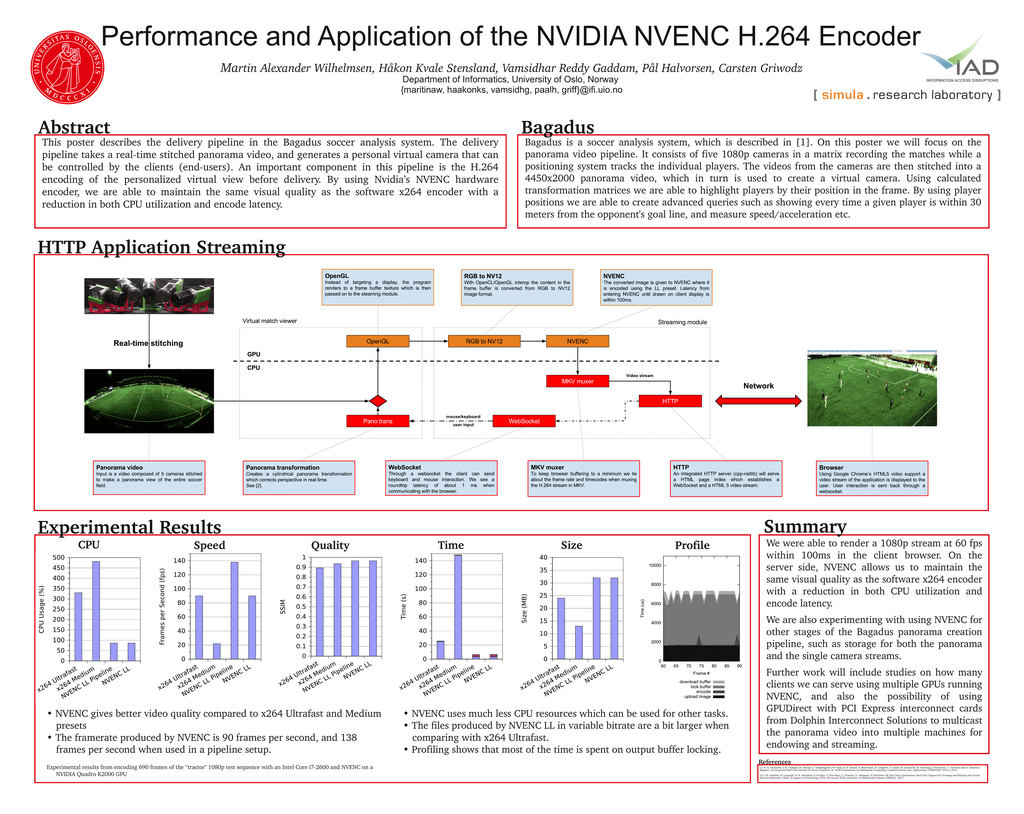 Performance and Application of the NVIDIA NVENC H 264 Encoder Ma