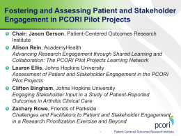 Fostering and Assessing Patient and Stakeholder Engagement in PCORI Pilot Projects