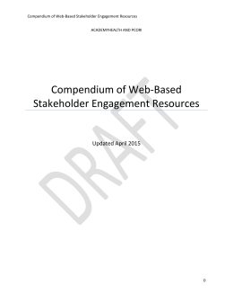 Compendium of Web-Based Stakeholder Engagement Resources Updated April 2015