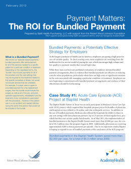 The ROI for Bundled Payment Payment Matters: