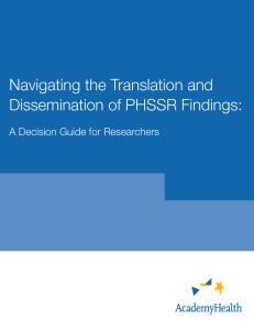 Navigating the Translation and Dissemination of PHSSR Findings: