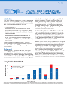 UPDATE:  Public Health Services and Systems Research, 2003-2011