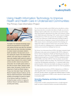 Using Health Information Technology to Improve The Primary Care Information Project
