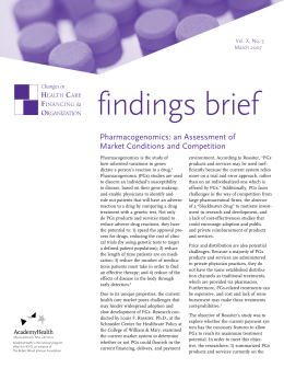 findings brief Pharmacogenomics: an Assessment of Market Conditions and Competition September 2002