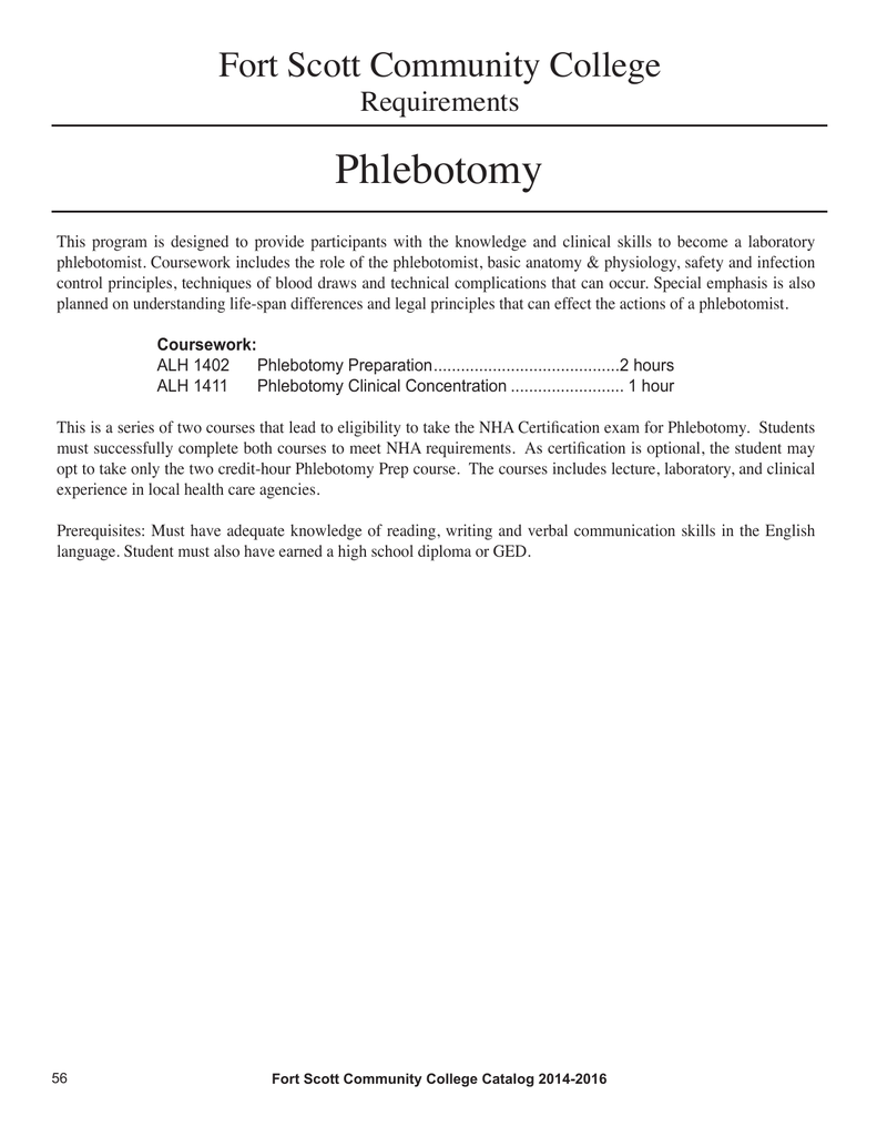 Phlebotomy Fort Scott Community College Requirements