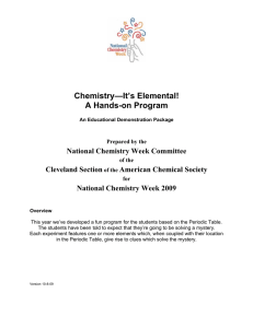 Chemistry—It's Elemental! A Hands-on Program