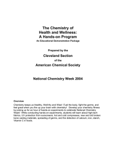 The Chemistry of Health and Wellness: A Hands-on Program