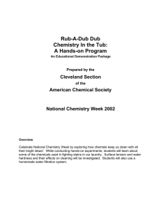 Rub-A-Dub Dub Chemistry In the Tub: A Hands-on Program Cleveland Section